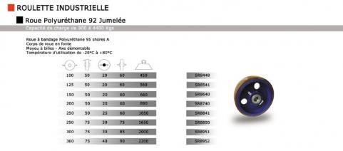 roue et roulettes industrielles roue fonte polyur thane 95 jumel e. Black Bedroom Furniture Sets. Home Design Ideas