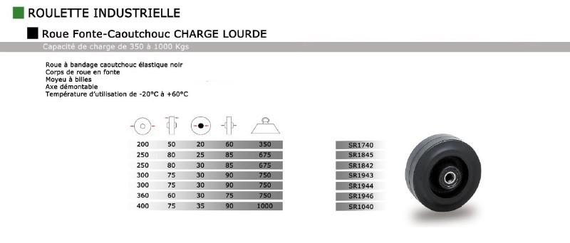 roue et roulettes industrielles roue fonte caoutchouc noir elastic. Black Bedroom Furniture Sets. Home Design Ideas
